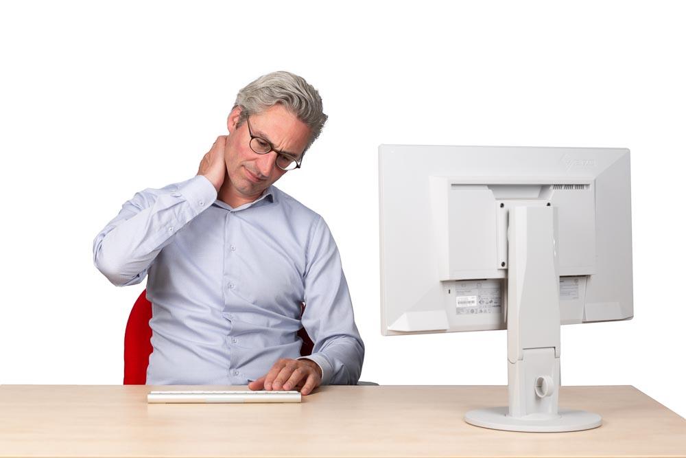 pijnlijke spieren door computerwerk